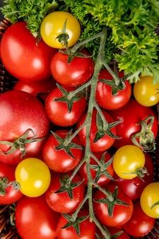 コリアンダーとしての野菜と表面としてのトマトのトップビュー