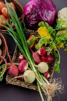 Вид сбоку корзина с овощами в виде редьки и зеленого лука с фиолетовой капустой и другими на бордовом фоне