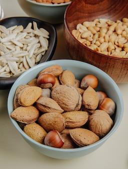 Вид сбоку пивные закуски смесь орехов подсолнечника и соленого арахиса на белом