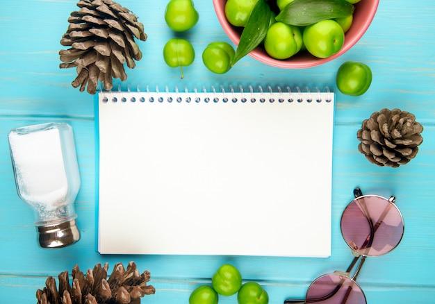 Вид сверху альбом, солонка и кислые зеленые сливы в деревянной миске, солнцезащитные очки и шишки на синем столе