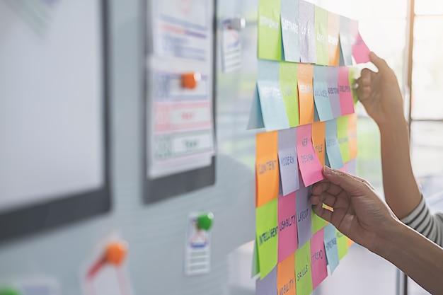 Веб-дизайнер мозговой штурм для плана стратегии.