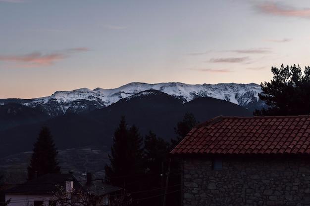 雪とアルプスのいくつかの木と山の夕日