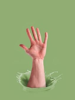 ペイントの男性の手。投票の概念。