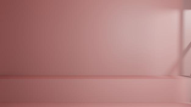 空の棚またはカウンターは、窓の光とローズピンクの背景の上に立ちます。