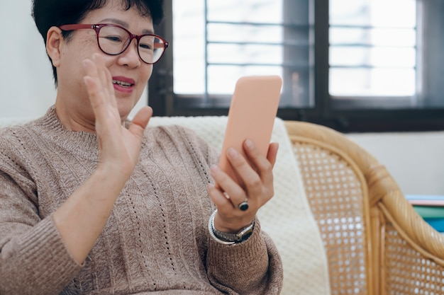 Азиатская старшая женщина звоня видео- на компьтер-книжке.