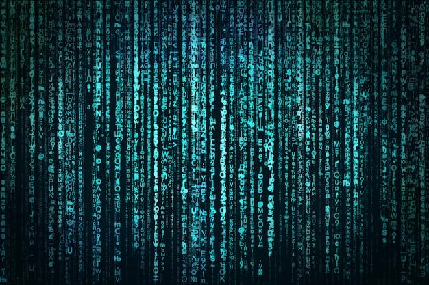 抽象、デジタルデータ、ブルーマトリックス
