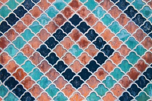 レトロなモザイクの背景。ヴィンテージのファサードの壁