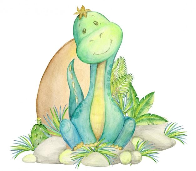 Динозавр, детская иллюстрация. акварель милый динозавр