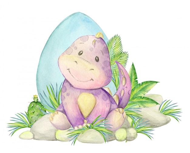 恐竜、子供のイラスト。水彩のかわいい恐竜