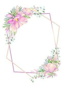 フレームはマグノリアの水彩画の花で飾られています。