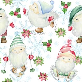 スカンジナビアのトロル、ノーム。水彩イラストのシームレスなパターン。クリスマスイラスト
