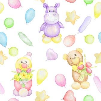 Клоун, бегемот, медведь, воздушные шары. бесшовный узор, это мило. акварельный рисунок