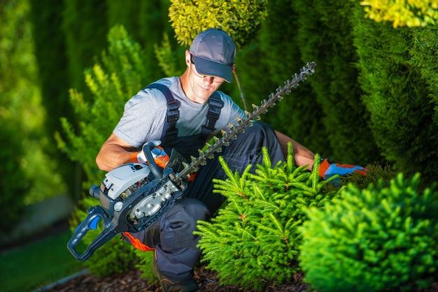 庭でのトリミング作業