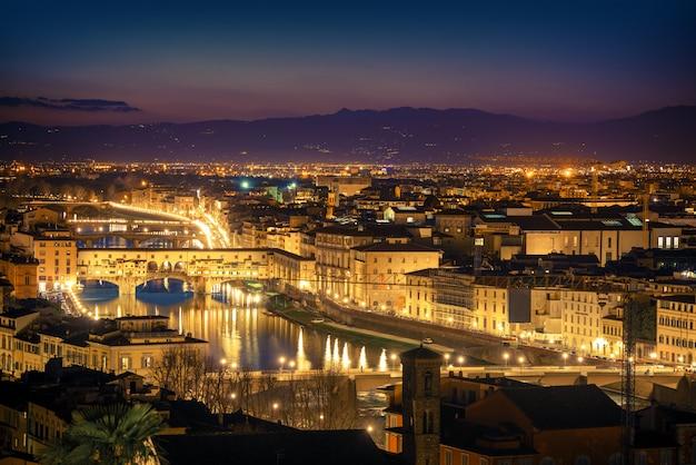 フィレンツェの夕暮れの街並み。