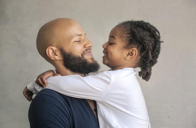かわいい父と息子の笑顔