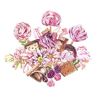 水彩のお菓子コレクション。お菓子、ケーキ、封筒の組成物の水彩画のイメージ。