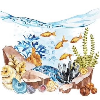 Пейзаж морской жизни - океан и подводный мир с разными обитателями.