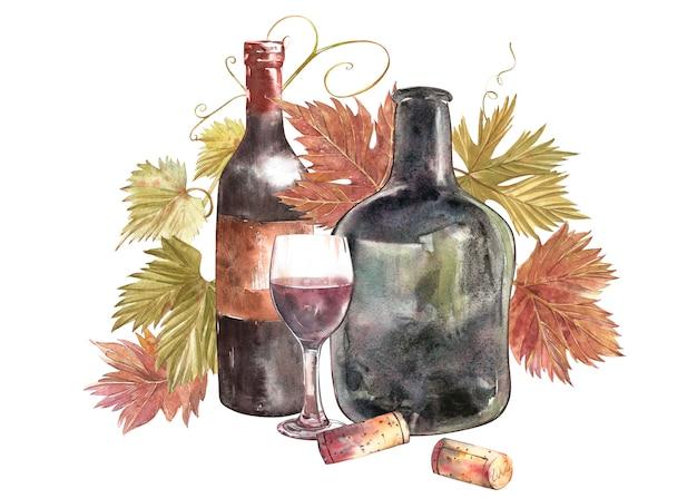 Бутылки и стаканы вина и листьев винограда