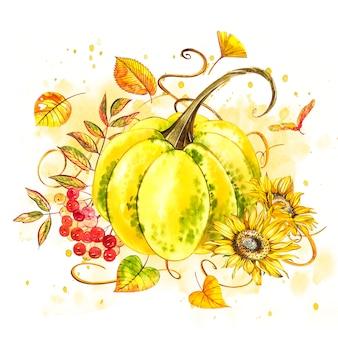 カボチャ。手はスプラッシュと白の水彩画を描いた。秋野菜。