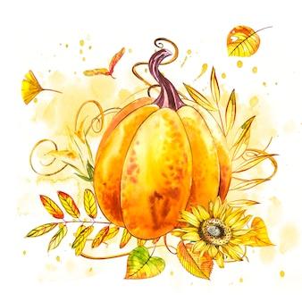 かぼちゃ。手は、白の水彩画を描いた。スプラッシュと水彩イラスト。幸せな感謝祭のカボチャ。