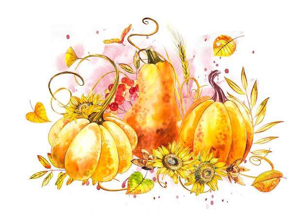 カボチャの組成物。手は、白の水彩画を描いた。スプラッシュと水彩イラスト。幸せな感謝祭のカボチャ。