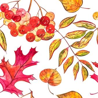 Бесшовный фон с желудями и осенью дубовые листья в оранжевый, бежевый, коричневый и желтый.