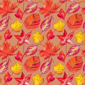 Красные и оранжевые осенние листья фон. акварель бесшовные модели иллюстрации.
