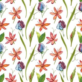 カフィアユリの花の水彩イラスト。シームレスパターン。