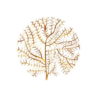Графический коралловый круг. акварельные иллюстрации искусство татуировки или дизайн футболки, изолированные на белом фоне.