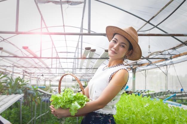 Красивая азиатская женщина держа корзину овощей стоя на ферме гидропоники
