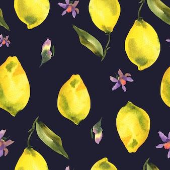 新鮮な柑橘系の果物レモンの枝と水彩のシームレスパターン
