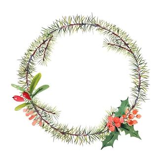 Зимняя акварель рождество круглая рамка с веток деревьев и ягод.