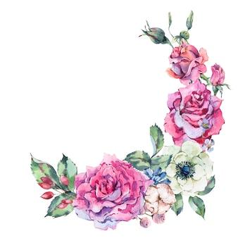 装飾的なビンテージ水彩ピンクのバラ、自然の花の花輪