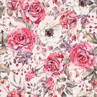 ローズ、アネモネ、綿と自然水彩シームレスパターン