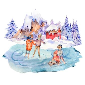Старинный акварельный набор зимних людей на санках, катание на коньках на катке. снег на свежем воздухе
