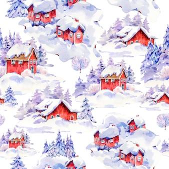水彩クリスマスシームレスパターン、スカンジナビアスタイルの雪で覆われた冬の赤い家