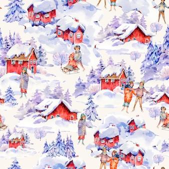 雪、そりの人々で覆われた冬の赤い家の北欧スタイルのビンテージ水彩クリスマスシームレスパターン