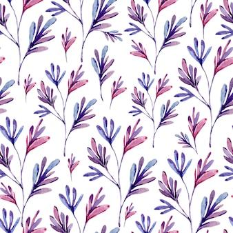自然の要素の水彩抽象シームレスパターン。自然な風合い