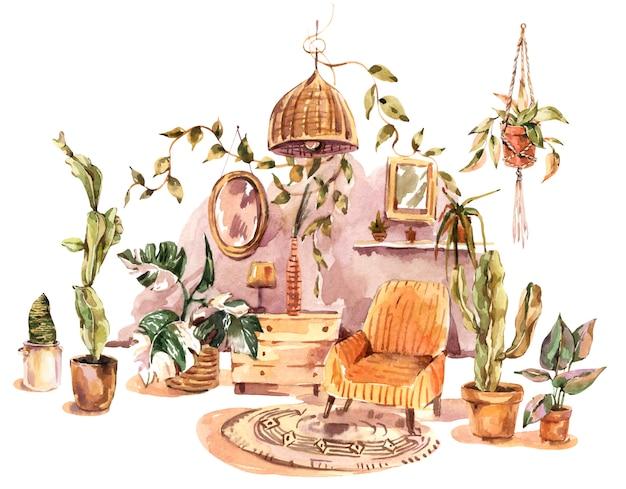 Открытка с домашним декором акварель бохо