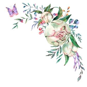 Акварель летних цветов пионов