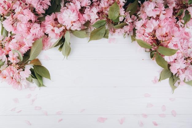 Веточки дерева сакуры с цветами и лепестками на белом фоне деревянные.