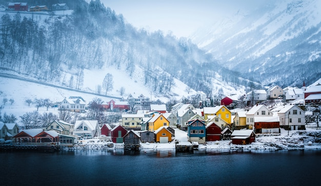 冬のノルウェーのフィヨルド