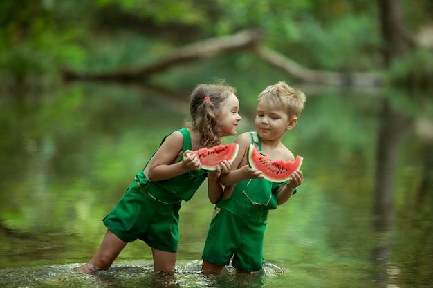 子供たちは水で遊んで、ジューシーでカラフルな熟したスイカを一口食べます