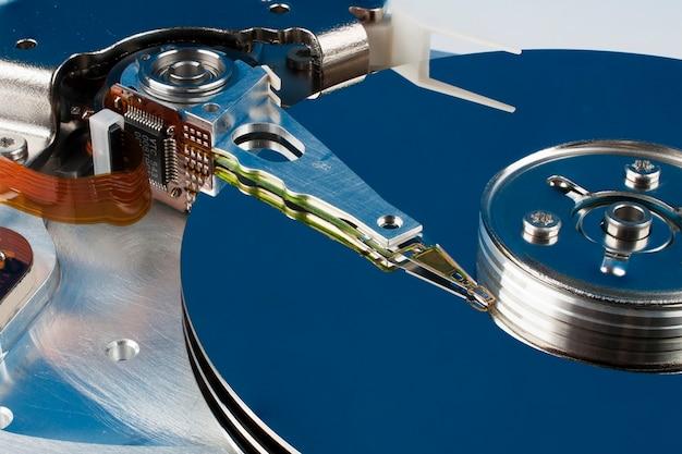 ハードディスクのクローズアップの断片