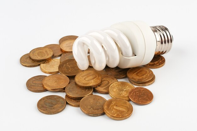 コインの上に横たわる電球
