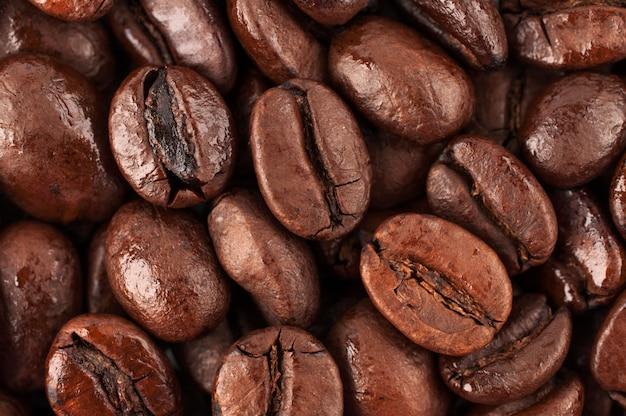 ブラックコーヒー豆、マクロ撮影