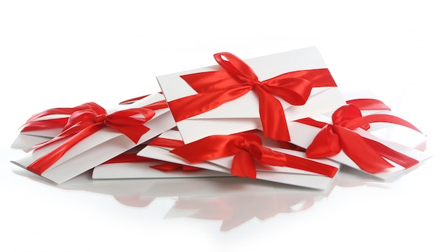 素晴らしい赤い弓のギフト封筒