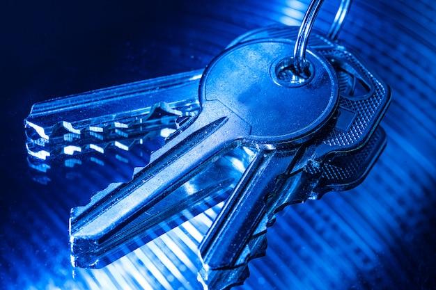 Ключи на синем цвете
