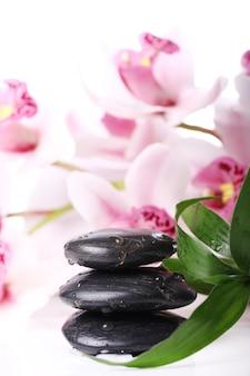スパの石と美しい蘭