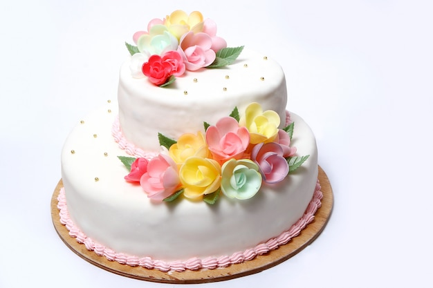 カラーフローレスのウェディングケーキ